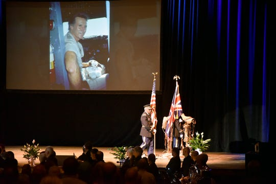 The Volunteer State War Era Veterans Honor Guard retires the colors at the conclusion of a public memorial for Stan Brock, founder of Remote Area Medical, at the Knoxville Civic Auditorium on Thursday, Sept. 27, 2018. Brock, who died Aug. 29, was an advocate for providing health care to those in need around the world. (J. Miles Cary/Special to the News Sentinel)