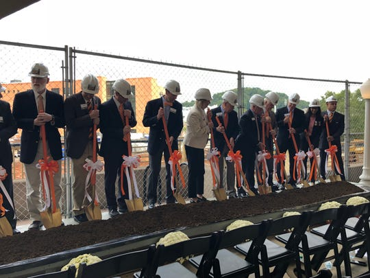 "Due to inclement weather earlier in the week, the ceremony was held at Neyland Stadium. Administrators and donors ""broke ground"" in front of the current construction site."