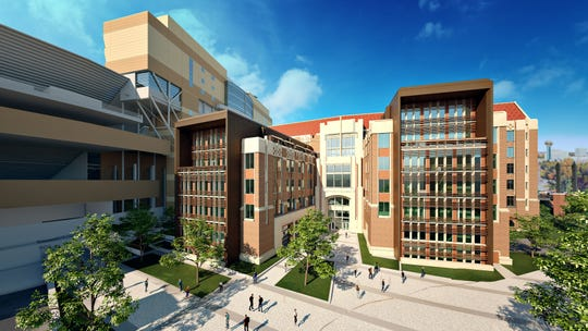 Renderings of the new engineering building at the University of Tennessee at Knoxville. The university held a groundbreaking ceremony on Friday afternoon.