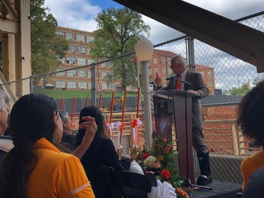 John Tickle speaks at the groundbreaking for the new engineering building at UTK. The building is scheduled to open in 2021.