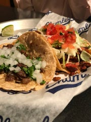 The street taco, left, and the stacked taco, right were our main course selections for the evening.