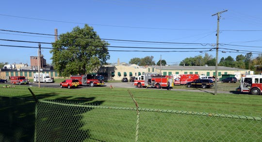 Firefigthers from five area fire departments and the Fairfield County Hazardous Materials team responded to an anhydrous ammonia leak at Green Gourmet Food Friday morning, Sept. 28, 2018, in Baltimore. Basil Joint Fire District Chief Rob Cooley said the leak was quickly contained by firefighters and more crews were called in to make sure gas levels in the building were safe. Cooley said the three BJFD firefighters who were first on the scene and went into the building to shut off the leak were taken to Fairfield Medical Center for evaluation. Cooley said the firefighters appeared fine, but were taken to the hospital out of an abundance of caution.