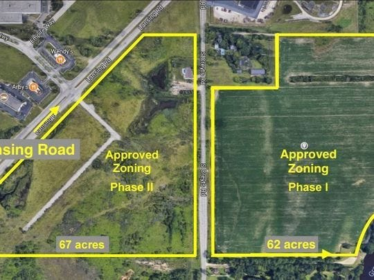 A look at where the Harvest Park development is located in Windsor Township. Construction is underway at Creyts and Lansing roads.