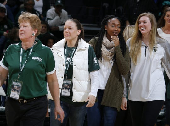 Former Michigan State players, including from left, Deb Traxinger, Kristin Haynie, Cetera Washington and Becca Mills were honored in 2016 at Breslin Center. Traxinger has been a basketball official for over 20 years and would like to see other former players work games.