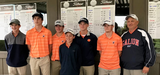 Led by medalist Matt McMullen (far left) and co-medalist runner-up Jack McElligott (second from left), coach Bryce Lehman's Galion Tigers repeated as Division II sectional golf champions.