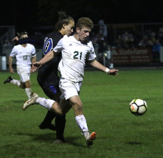 Madison's James Wagner kicks the ball down the field while playing at Ontario last season.