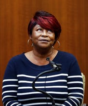 Thelma Taylor testifies during the retrial of Quinton Tellis on Friday in Batesville, Miss.