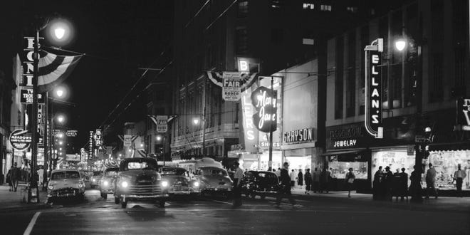 Main Street looking South toward Goldsmith's (Left Center), the Malco Theater and the Hotel Chisca in Downtown Memphis in a photograph dated September 30, 1954.