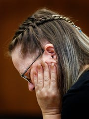Lisa Daugherty, mother of Jessica Chambers, sits in courtroom on the fourth day of the retrial of Quinton Tellis in Batesville, Mississippi on Friday, September 28, 2018. Tellis is charged with burning 19-year-old Jessica Chambers to death almost three years ago on Dec. 6, 2014. Tellis has pleaded not guilty to the murder.