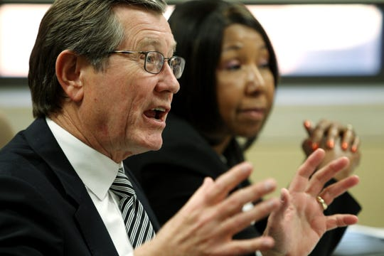 November 19, 2014 - Phil Trenary (left) and Carolyn Hardy were among those who spoke to the Shelby County Commission during an economic development session at a retreat held at the University of Memphis Fogelman Executive Center. (Mike Brown/The Commercial Appeal)
