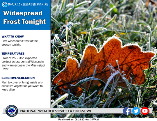 Frost is expected across Wisconsin on Friday night into Saturday morning.