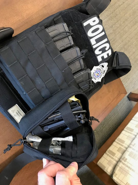 Ballistic vests worn by Middleton police at the WTS Paradigm shooting this month included medical kits and pockets for extra ammunition.