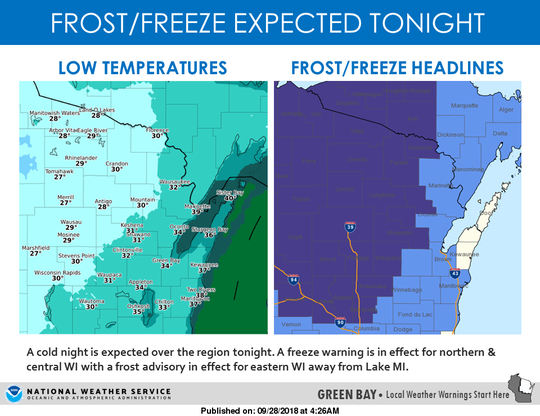 Temperatures in the 20s are expected across portions of northern and central Wisconsin on Friday night into Saturday morning.