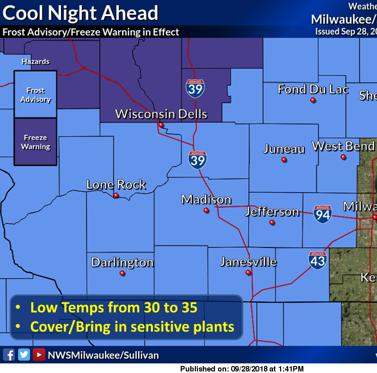 Cold air will overtake Wisconsin tonight; mosquitoes likely to be wiped out