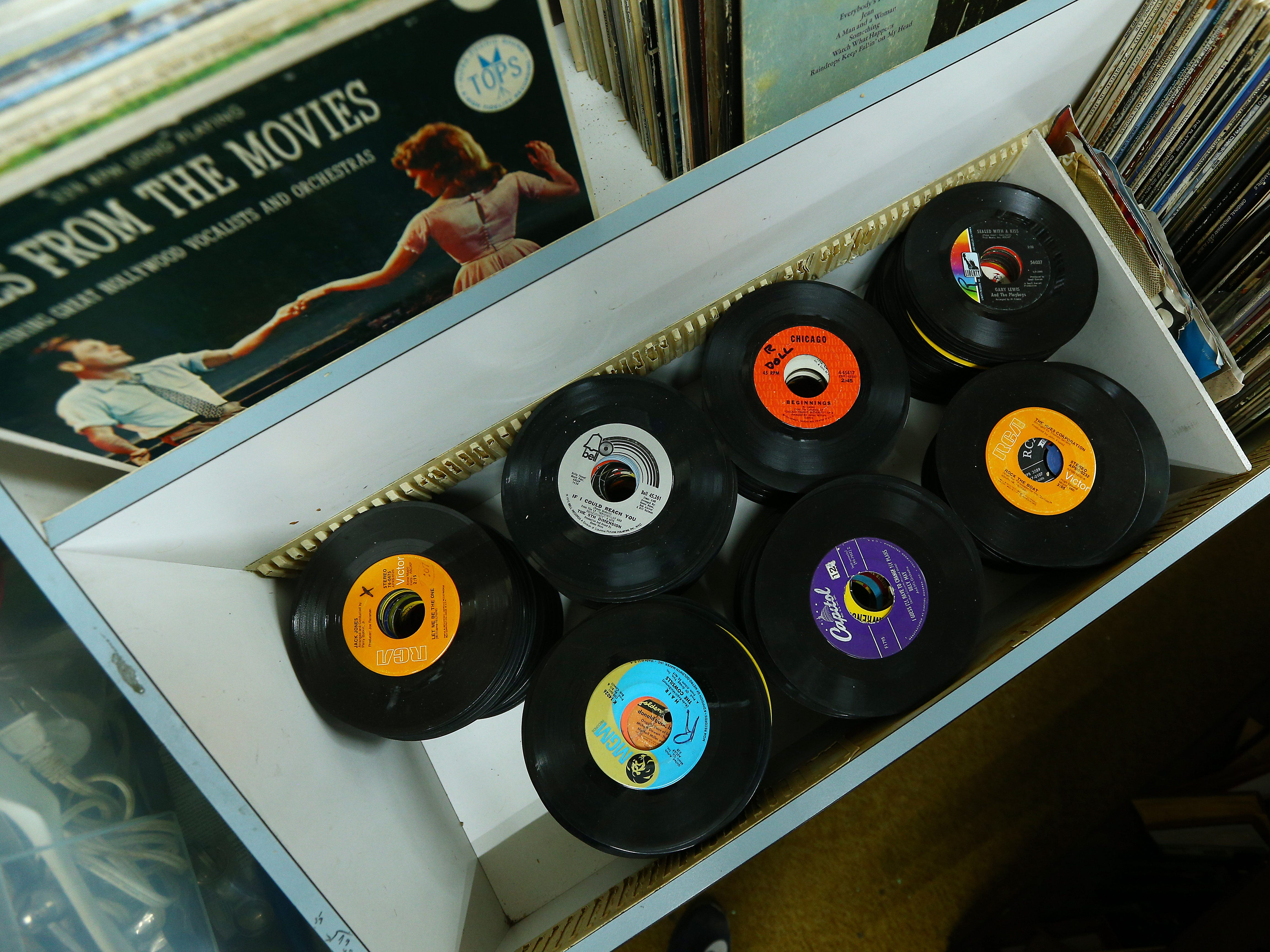 45's and LP's for sale at the Morris Thrift Store in Dover, open for 40 years will close at the end of the year.The most recent owner Stan and Maria Bush are retiring and have sold it, the new owner will not keep it as a thrift store. September 28, 2018, Dover, NJ