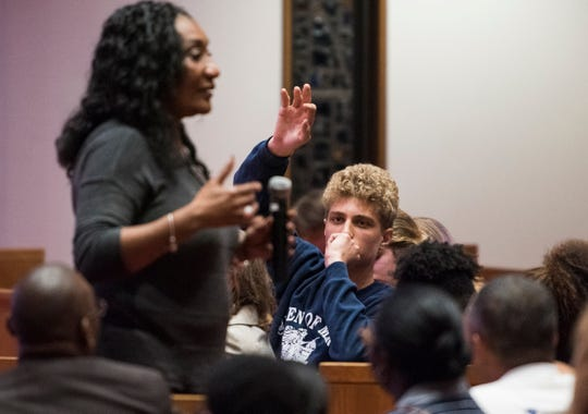 Montgomery Public Schools Superintendent Ann Roy Moore takes questions from parents and students during a BTW Magnet School PTSA meeting at Aldersgate United Methodist Church in Montgomery, Ala., on Thursday, Sept. 27, 2018.