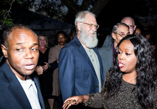 Former Late Night talk show host David Letterman spoke at a fundraiser for congressional hopeful and Muncie local Jeannine Lake at Lake's home Thursday evening.