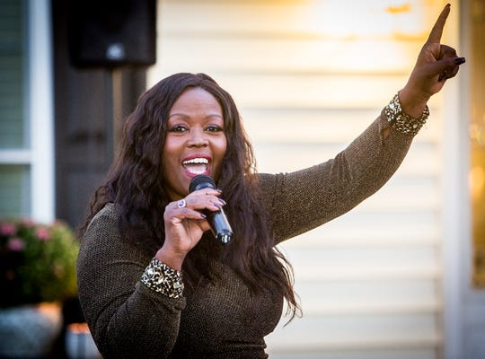 Congressional candidate Jeannine Lee Lake speaks during a fundraiser at her Muncie-area home in September, an event that featured David Letterman.