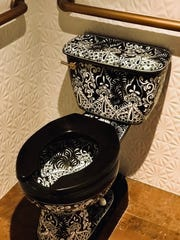 "The toilet at Mockingbird, created in Mexico, is hand-painted in a Spanish style of pottery called ""Talavera."""