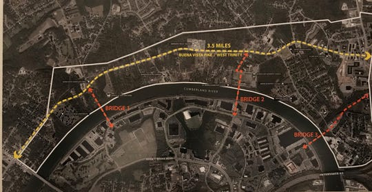 Three proposed bridges would connect the north Cumberland River area to downtown, under the plan