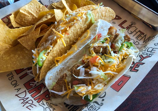 Dos tacos with crispy fish from Tijuana Flats Tex-Mex in North Naples, Florida. $8.29.