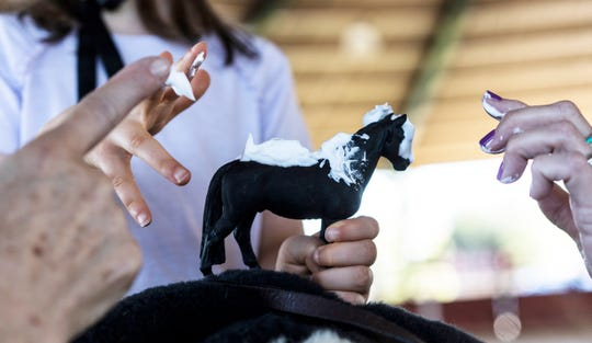 During the hippotherapy, Kimmy's therapist helps her to over her fear of being messy and dirty by applying shaving cream to a toy-horse and asking her to feel the presence of the cream on her hands.