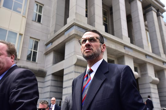 David Wildstein exits Newark court after pleading guilty to two counts of conspiracy, May 1, 2015.