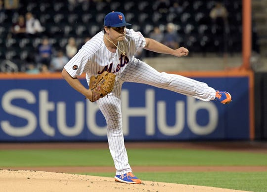 New York Mets pitcher Jason Vargas delivers the ball to the Atlanta Braves during the first inning of a baseball game Thursday, Sept. 27, 2018, in New York.