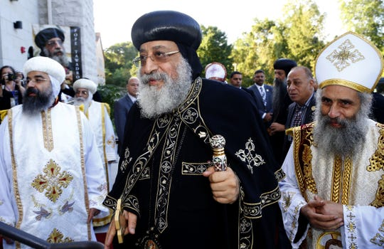 Pope Tawadros II arrives at St. Mina's Coptic Orthodox Church in Holmdel, N.J., for a consecration service Sept. 22, 2018.