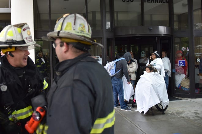 An explosion shook the Hilton Hotel according to Rob Knobloch, Hasbrouck Heights Assistant Fire Chief in Hasbrouck Heights Friday morning on September 28, 2018. Knobloch said the the fire department and PSE&G were called to the hotel earlier in the morning for a power outage. As power was being restored to the hotel the electrical panel exploded. No injuries were reported.