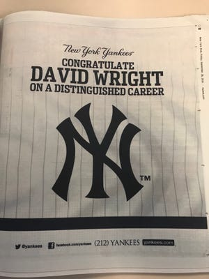 The New York Yankees full-page ad honoring David Wright on Friday, September 28, 2018