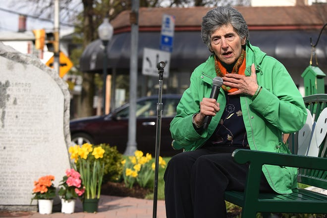 Unveiling of the Child Safety Forever Fountain in Hillsdale on Thursday April 19, 2018, which marks 45 years since Joan D'Alessandro's death. Rosemarie D'Alessandro, Joan's mother, talks prior to the unveiling of the fountain.