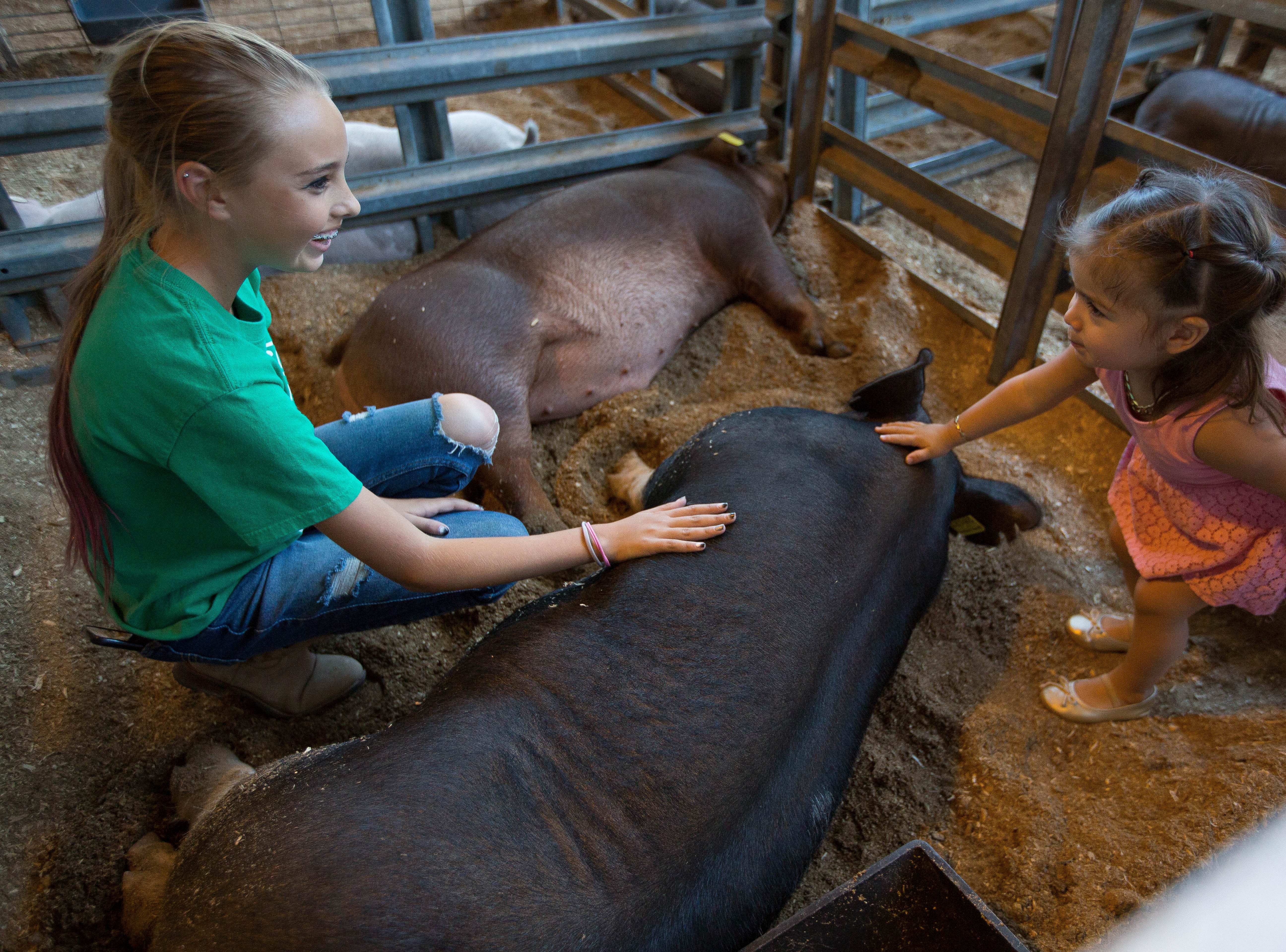 """Trinity Bush, 14, with the Centennial FFA, shows Melissa Escalera, 2, how to pet """"Twiz"""" Bush's  286 lbs pig who won 1st place in the Heavy Weight OPB contest at the Southern New Mexico State Fair. Friday September 28, 2018."""