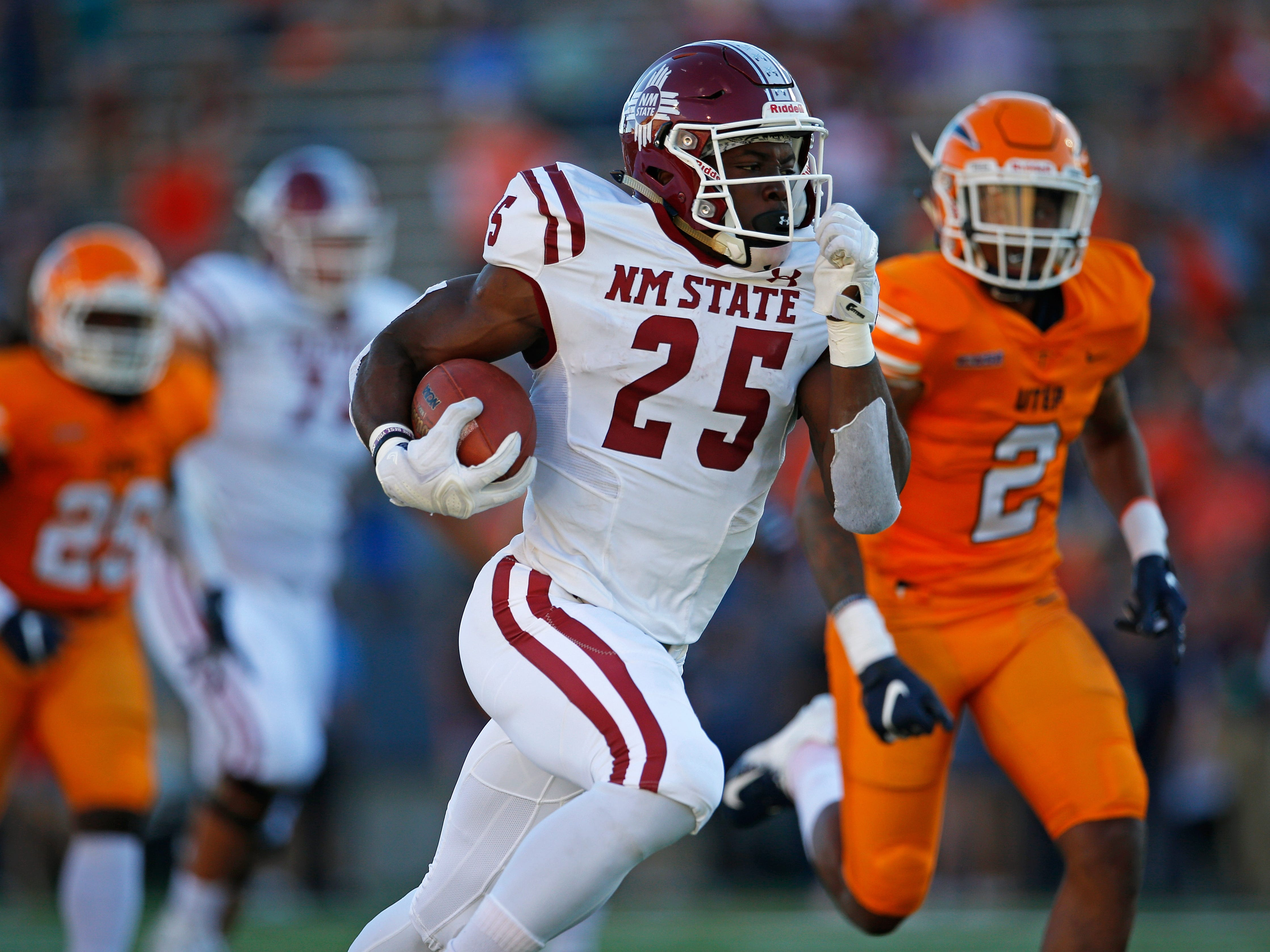 New Mexico State running back Christian Gibson has emerged as a physical presence in the Aggies backfield this season.