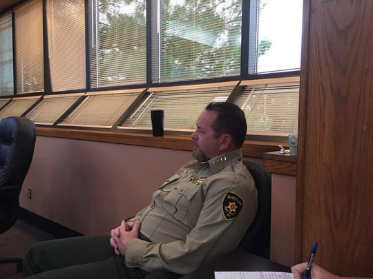 Eddy County Sheriff Mark Cage during the Sept. 18, 2018 Eddy County Commission meeting. He talked about the dangers of deputies traveling down a stretch of Black River Village.