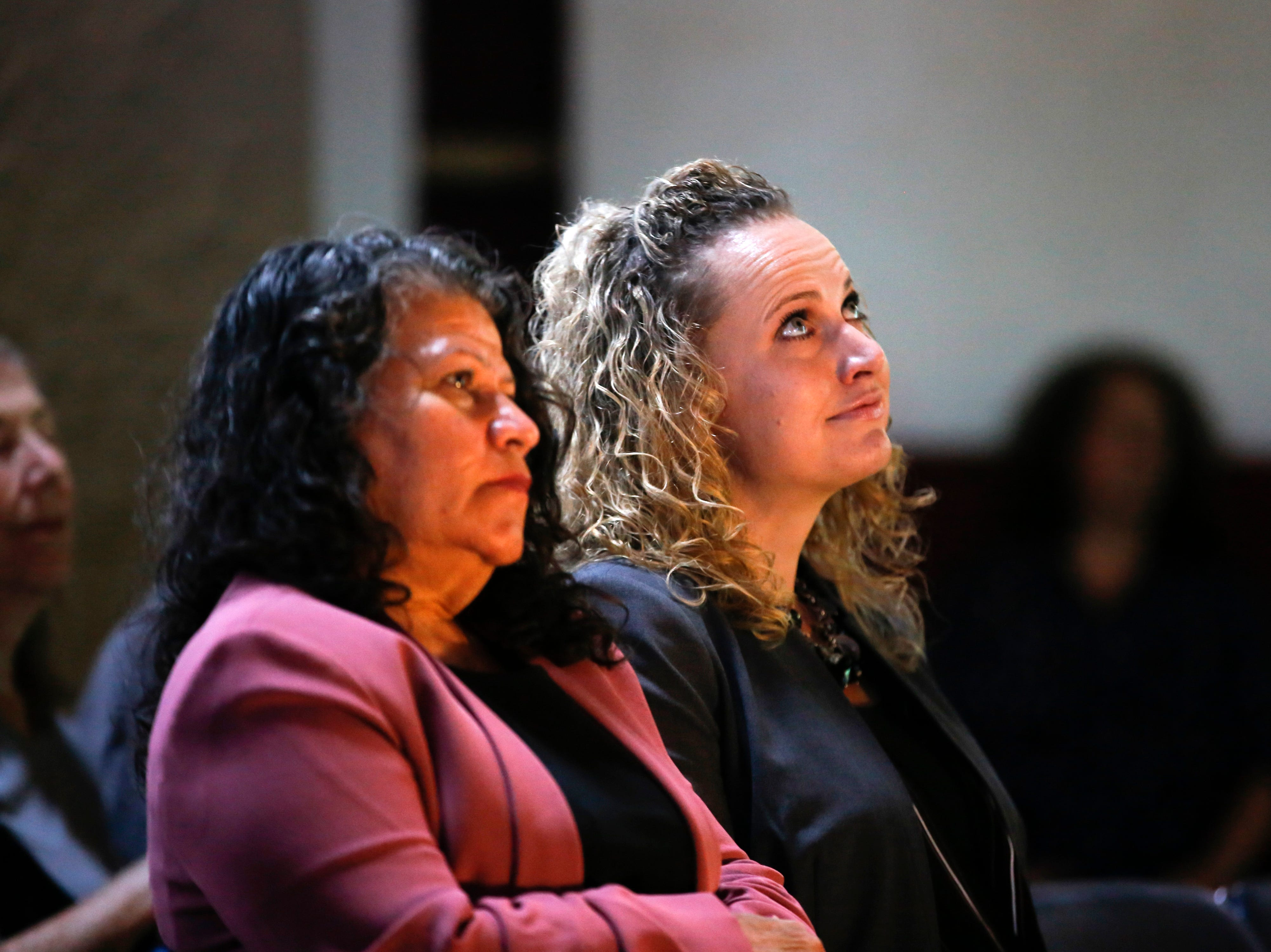 From left, Isela Imelda Baca de Polanco and Daniella Marie Montano Friday, Sept. 28, 2018 during a naturalization ceremony at the Aztec Ruins National Monument.