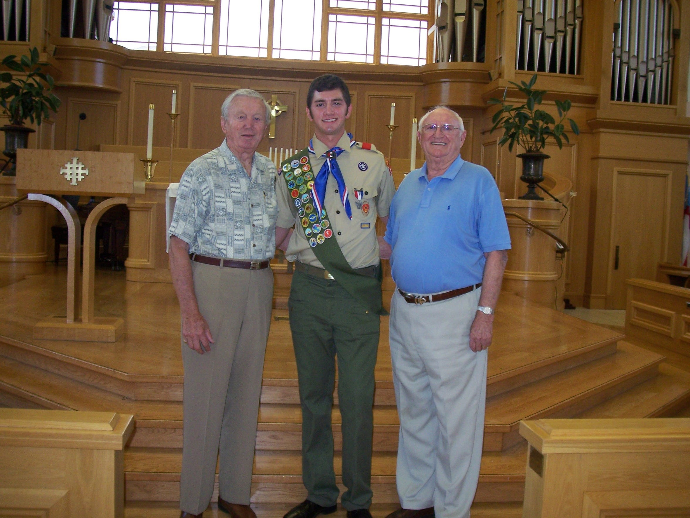 Matt Fletcher, along with his grandfathers, at his Eagle Scout ceremony