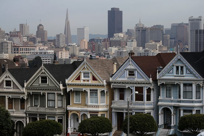 A view of San Francisco's famed Painted Ladies victorian houses on February 18, 2014 in San Francisco, California.