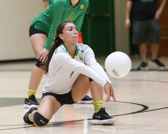 Coachella Valley captain Elizabeth Olivas digs the ball during a 3-0 win against Cathedral City.