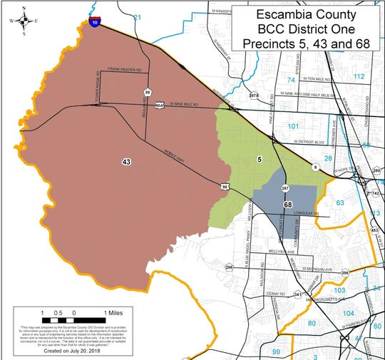 A map shows the three precincts the Northwest District 1 Advisory Committee will look at to make recommendations to Escambia County for a master plan.