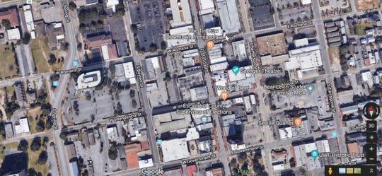 Satellite map of downtown Pensacola