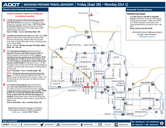 Lane reductions and temporary closures on the I-10 and I-17 are scheduled for this weekend.
