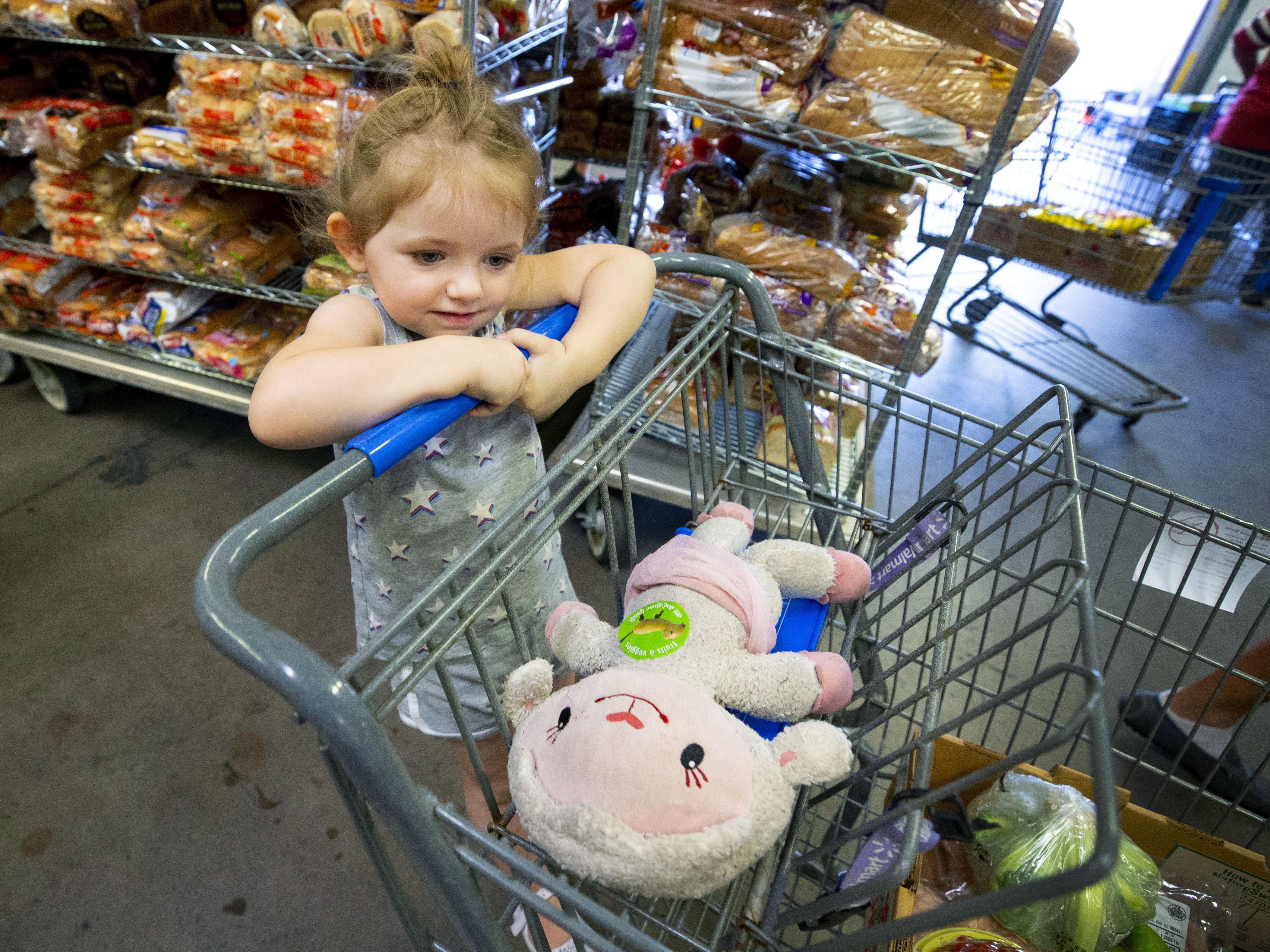 Raelyn Dawley, 2, receives food with her father, Brandon,  at United Food Bank in Mesa on September 28, 2018.