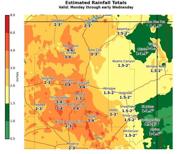 The National Weather Service in Flagstaff presented potential precipitation totals in Arizona through Wednesday.