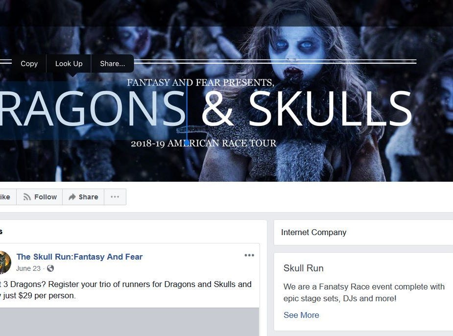 People across Arizona have been paying for tickets to fake events, such as races with a Game of Thrones type of theme, according to the Arizona Attorney General's Office. A screenshot of the company's Facebook page.