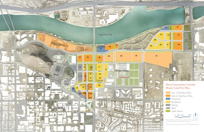 An overall rendering of buildings planned for Arizona State University's athletic district in the Tempe Novus Innovation Corridor.