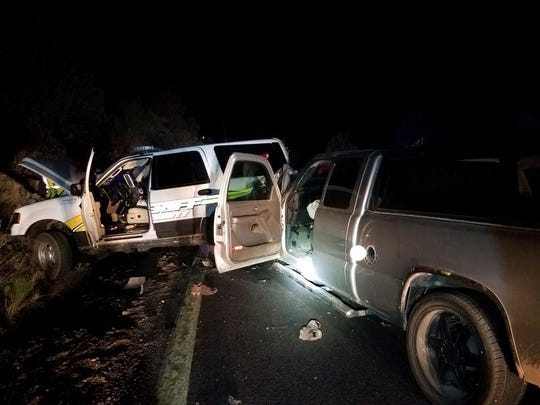A suspected impaired driver crashed into a deputy's vehicle Wednesday night, while the deputy investigated another crash nearby.