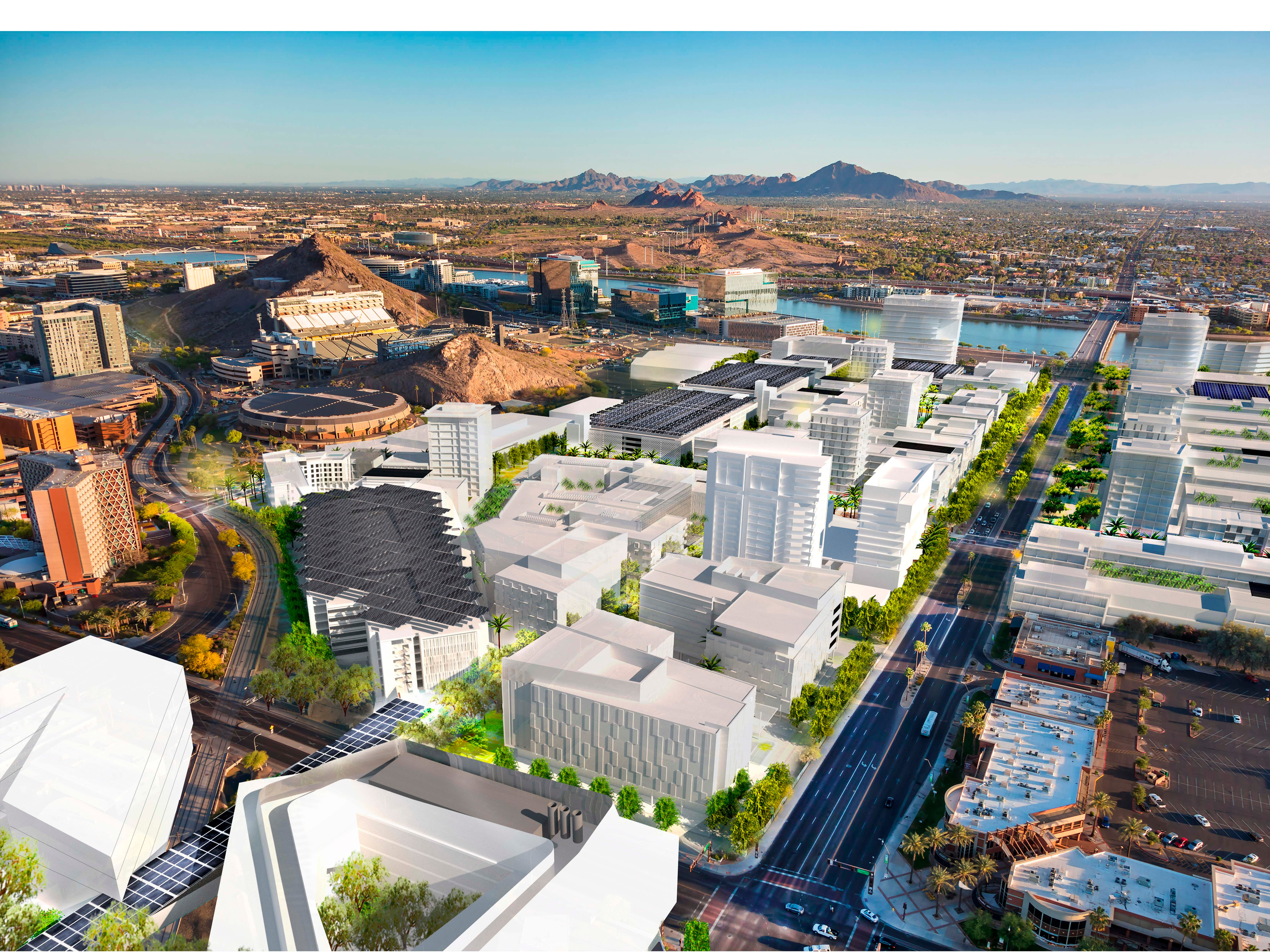 An aerial view of developments planned for Arizona State University's athletic district in the Tempe Novus Innovation Corridor.