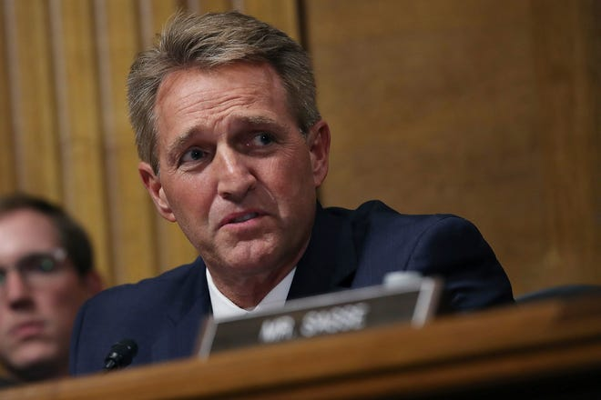 Sen. Jeff Flake, R-Ariz., questions Supreme Court nominee Brett Kavanaugh as he testifies before the Senate Judiciary Committee on Capitol Hill in Washington, D.C. on Sept. 27, 2018.