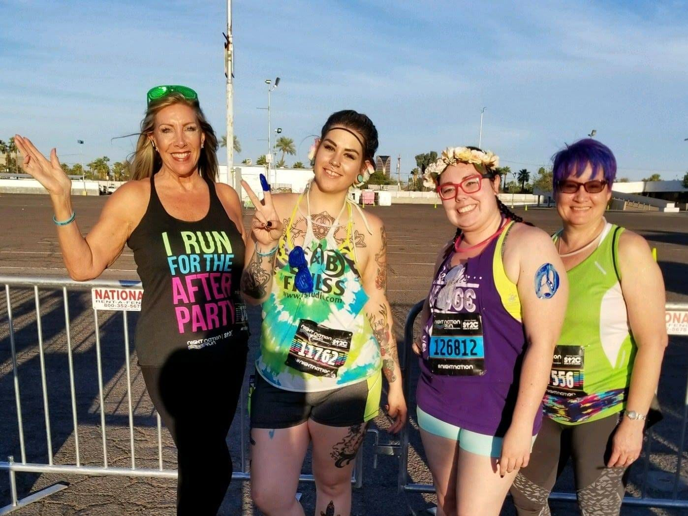 "Audra Araujo, 27, of Phoenix, (second from left) at a past race with friends. She and four friends recently purchased $20 tickets to the ""Dragon, Zombies, Skull Run,"" which turned out to be a scam."